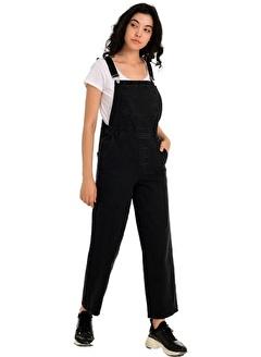 Gaydalı Giyim Kadın Siyah Bahçıvan Denim Tulum
